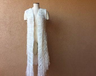 Boho Clothing Wedding Accessories Vest - Boho Fashion Fringe Boho Gypsy Bridal Cape Ivory Off White Lace Tunic