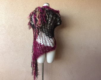 Dressy Shawl in Cranberry, Black and Gold Burgundy Stevie Nicks Wrap for NYE New Year's Eve