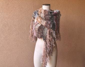 Summer Knit Concert Shawl Scarf Wrap, Womens Clothing Salmon Pink, Rose, Grey, Beige Shawl Wrap with Fringe