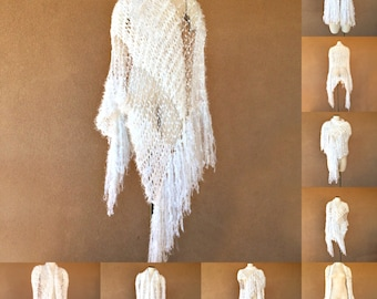 White Stevie Nicks Cape Wedding Wrap Same Style as Contest Winner Shawl that I Designed for Stevie Cape Stevie Bridal Shawl White, Silver