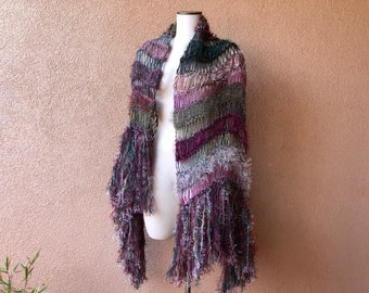 Large Knit Scarf Shawl Huge Scarf Tourmaline Colored Warm Scarf Knit Accessories for Women Gift