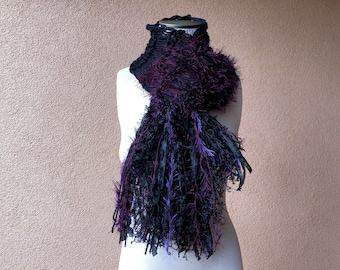 Black and Purple Scarf, Long Warm Scarf for Women's Winter Gift