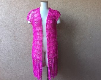 Knit Pink Beach Cover-Up Women's Coverall in Hot Pink, Swim Kimono Accessories Boho Clothing, Large Pink Wrap, Lightweight Top Vest Tunic