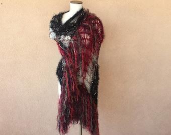 Red Romantic Shawl Stevie Nicks Shawl Green, Black and Red Shawl w Maroon Burgundy Wine Fringe Shawl Wrap Knit Accessories