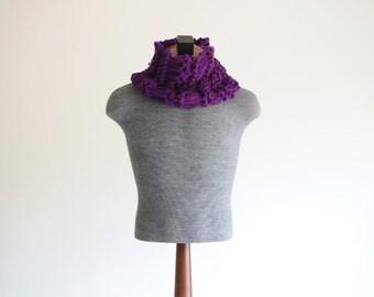 Dark Purple Scarf for Men Purple Cowl, Thick, Warm, Comfortable Purple Infinity Scarf for Men Purple Scarf