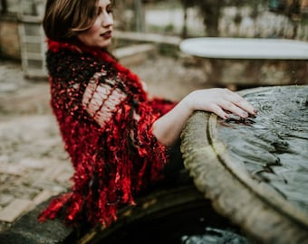 Stevie Nicks Approved Red and Black Shawl Shoulder Wrap Shoulder Shawl Knitted Scarf Shawl, Lace Shawl Stevie Nicks Shawl Goth Shawl
