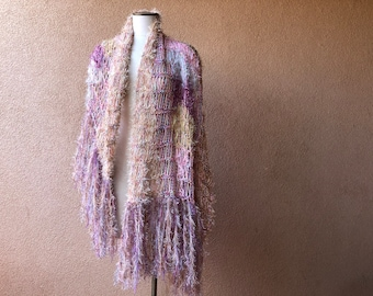 Cotton Shawl for Woman Gift. Purple and Beige Lilac Hand Knit Fringed Scarf
