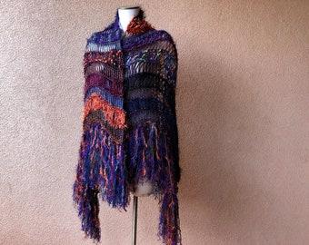 Halloween Ready-to-Ship Shawl. Stripes Scarf Shawl. Hand Knit Wrap Shawl in Purple, Orange, Black, Blue. Large Size, Fringe, Bold Colors