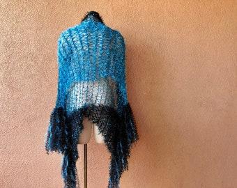 Turquoise Shawl Teal and Black Shawl Wrap Accessories Stevie Nicks Clothing Women Shawl Wraps Shoulder Wrap Shoulder Shawl Women