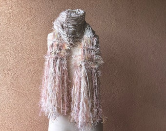Boho Gypsy Knit Scarf Cold Weather Accessories Stevie Nicks Style. Shell Dusky Rose Blush Pink Tan Beige Ivory Cream Scarf Gift