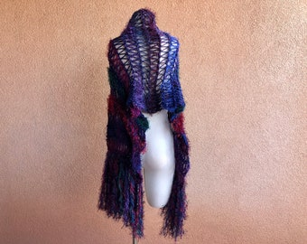 Cobalt Blue Scarf, Sapphire Royal Blue Wrap, Hand Knit with Fringe, Navy, Midnight Blue, Burgundy Red, Forest Green, Eggplant