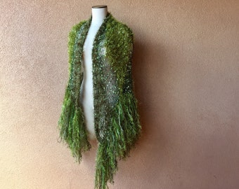 Green Shawl with Fringe Long Shawl Green Fairy Shawl Wrap Irish Celtic Khaki Green Shawl Olive Green Moss Green