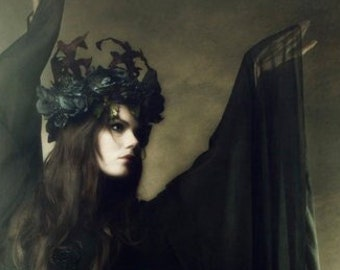 Salem Solstice Headdress by Kambriel ~ Grey Roses, Velvety Leaves & Blackened Silver Accents ~ Vintage One of a Kind ~ Made in Salem Mass!