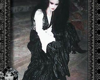 Vintage Black Crushed Velvet Triple Tiered Skirt by Atrocities / Kambriel - Original Gothic 90's