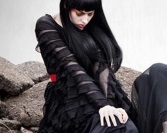 Ruffled Shadowen by Kambriel ~ Sheer Black Tunic w/ Flared Sleeves - Brand New & Ready to Ship!