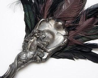 Rare Belle Epoque Art Nouveau Victorian Feather Fan with Beautifully Ornate Antique Handle