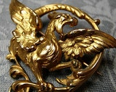 Rare Antique 18K gold filled Gothic Victorian French Dragon Pin Brooch - Circa 1890-1905