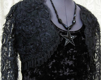 Salon Noir ~ Sheer Black Bolero ~ One of a Kind Vintage Atrocities Made with Antique Organza & Tasseled Fringe