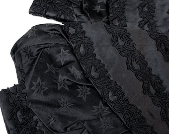Victorian Queen of Night ~ Sumptuous Antique French Victorian Silk Sleeves Ornately Embellished w/Celestial Stars ~ Costume, Display, Revamp