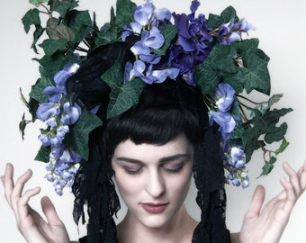 Wisteria Headdress by Kambriel ~ w/ Vintage Feathered Crow and Black Lace Tendrils ~ Designer Original One of a Kind Piece!