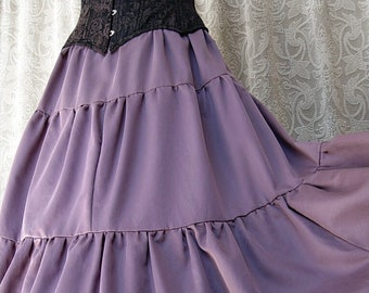 Batwing Hemmed Wisteria Cotton Triple Tiered Skirt by Kambriel - Brand New & Ready to Ship!