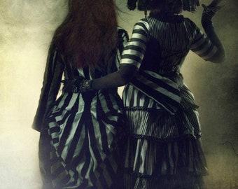 Striped Crystal Palace Bustle Jacket by Kambriel ~ Silvery Grey with Black Velvet Stripes ~ Ready to Ship!