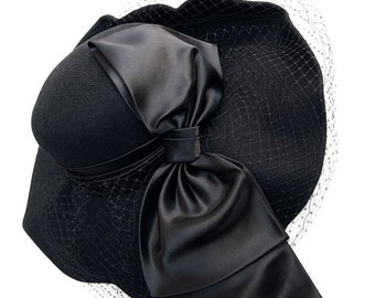 One of a Kind Witchy Black Wool Hat with Asymmetrical Hand-Sculpted Brim ~ Dramatically Proportioned Satin Bow + Veiling