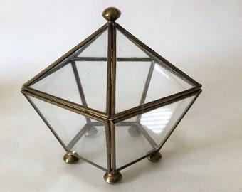 Vintage Glass and Brass Trinket Box Jewelry Box