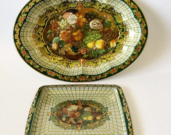 Vintage Daher Decorated Ware Tin Bowl and Tray Set