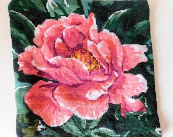 Needlepoint Rose Panel Handmade Embroidery