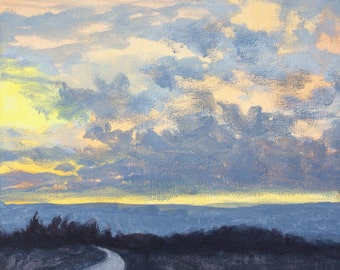 Early Morning Sunrise - Original Landscape Painting on Canvas 8x8 Sun Sky Clouds Low Horizon