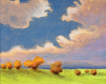 Sonoma Valley - Original Landscape Painting on Canvas Clouds Oak Trees Hills California 8x8