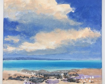 On a Clear Day - Original Landscape Painting of Sky Clouds Ocean Water Rocks Zen Fresh Air