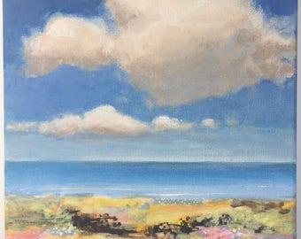 Sunshine and Clouds - Original Landscape Painting of Sky Cloud Ocean 8x8 Water Rocks Zen