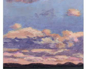 October Sunrise  - Original Landscape Painting on Canvas 8x8 Sun Sky Clouds Low Horizon