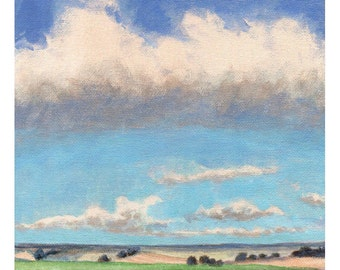 Landscape Painting - Original Painting on Canvas 8x8 Fields Clouds and Blue Sky Cumulus