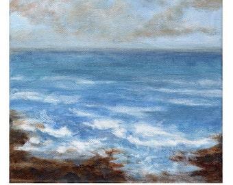 Shoreline - Original Landscape Painting of Sky Clouds Ocean Water Rocks Zen Fresh Air