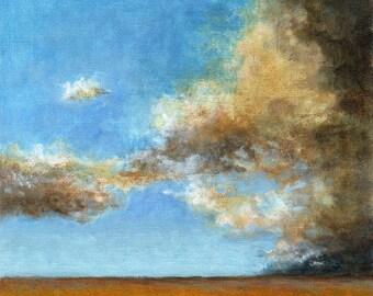 Landscape Painting Original on Canvas 8x8 Field Prairie Rain Clouds and Blue Sky