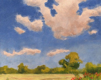 Original Landscape Painting 8x8 canvas Summer Fields Clouds and Sky Farmland Poppy Countryside Vacation