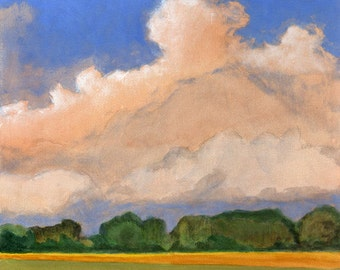 A New Day - Landscape Painting Original Painting on Canvas Wheat Fields Clouds and Blue Sky