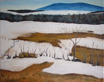 """Original Plein Air Oil Painting Impressionist Landscape Eastern Townships Canada By Fournier """" Melting Snow In The Appalachians """" 16 x 20"""