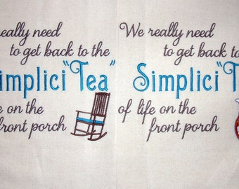 Single Towel or a set of Two -  Life is like a Tea Bag -  Tea Towel - From Faye Fitzgerald's Book
