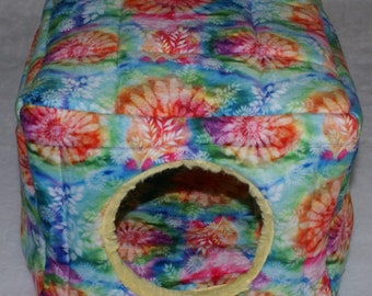 """TieDye Minky Cube - Guinea Pig, Hedgehog, Rats and other tiny pets - Hideout House - 10"""" x 10"""" x8"""""""