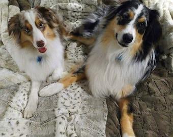 Dog Blanket - Animal Print Blanket - Minky Fur Blanket - Embroidered Personalization Included