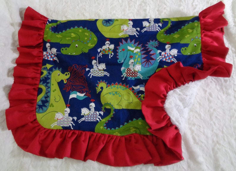 Dragons and Knights Dog Blanket Baby Blanket Blanket with Satin Ruffle Limited Edition Blanket Cotton and Minky Blanket