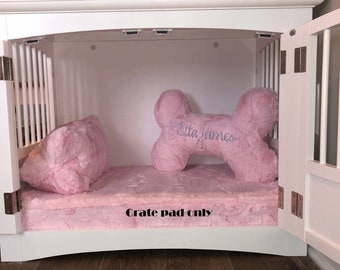 """DOG CRATE PAD - Dog Bed - 3"""" Memory Foam Crate Pad - Crate Pad - Small to Medium Size Pets - Embroidered Personalization Included"""