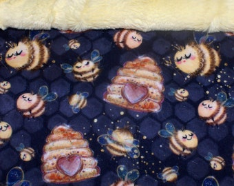 """Bees Snuggle Sack, Pouch for Hamster, Sugar Glider, Mice, Rat,  Hedgehog or Guinea Pig - 12"""" x 15"""""""