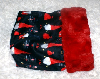 """Santa Hat Gnomes, Snuggle Sack, Pouch for Hedgehog, Christmas Gnomes print with coordinating Minky fur lining - 9"""" x 9"""""""
