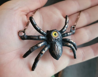 Electroformed Halloween Spider Cyclops Copper Necklace Yellow Eyes Witchy Jewelry Tarantula Spooky Samhain Spiders