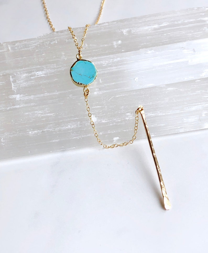 Turquoise bar drop necklace